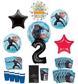 Black Panther Party Supplies 8 Guests 2nd Birthday Balloon Bouquet Decorations
