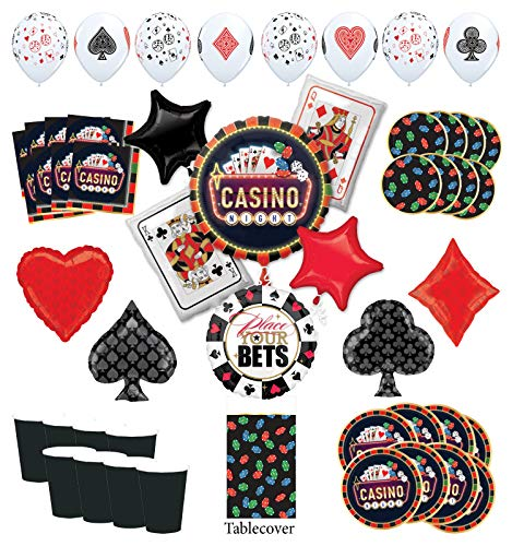 Mayflower Products Casino Night Party Supplies 8 Guest kit and Playing Card Suits Balloon Bouquet Decorations