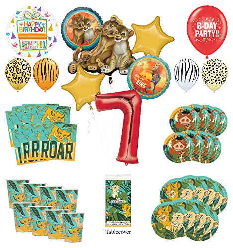 Lion King 7th Birthday Party Supplies 16 Guest Decoration Kit with Simba, Nala and Friends Balloon Bouquet