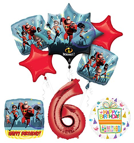 Incredibles 2 party supplies 6th Birthday Balloon Bouquet Decorations
