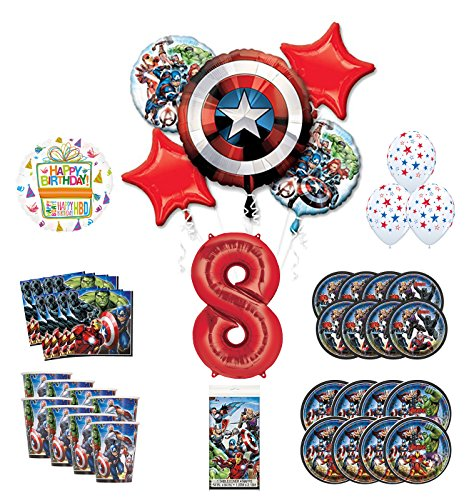 Mayflower Products Avengers 8th Birthday Party Supplies and 8 Guest Balloon Decoration Kit