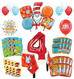 Mayflower Products Dr Seuss 4th Birthday Party Supplies 16 Guest Decoration Kit and Balloon Bouquet