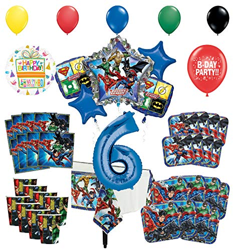 Justice League 6th Birthday Party Supplies 8 Guest Entertainment kit and Superhero Balloon Bouquet Decorations