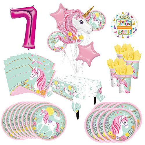 Magical Unicorn Party Supplies 8 Guests 7th Birthday Balloon Bouquet Decorations