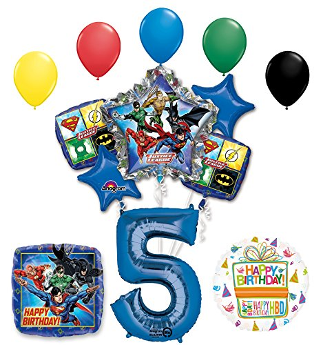 The Ultimate Justice League Superhero 5th Birthday Party Supplies and Balloon Decorations