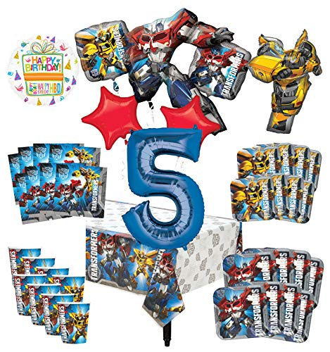 Transformers 5th Birthday Party Supplies 8 Guest Decoration Kit and Balloon Bouquet -