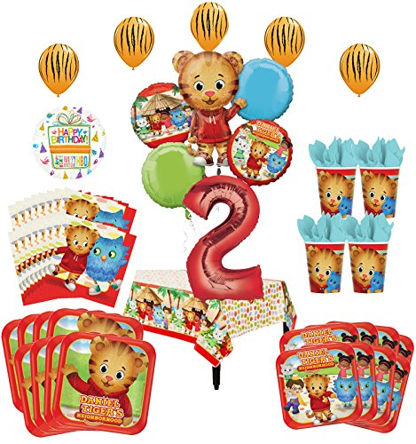 Daniel Tiger Neighborhood 2nd Birthday Party Supplies and 8 Guest 53pc Balloon Decoration Kit