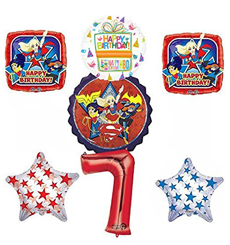 DC Super Hero Girls 7th Birthday Party Supplies and Balloon Decorations