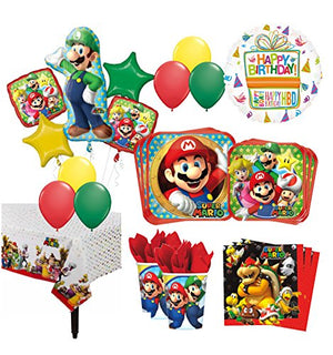 The Ultimate 16 Guest 94pc Super Mario Brothers Birthday Party Supplies and Balloon Decoration Kit