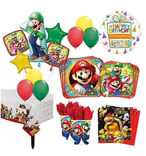 The Ultimate 8 Guest 53pc Super Mario Brothers Birthday Party Supplies and Balloon Decoration Kit