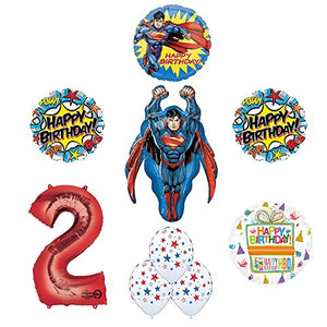 Superman 2nd Birthday Party Supplies and Balloon Decorations