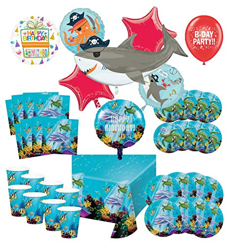 Mayflower Products Under The Sea Birthday Party Supplies 8 Guest Entertainment kit and Pirate Ocean Animals Balloon Bouquet Decorations