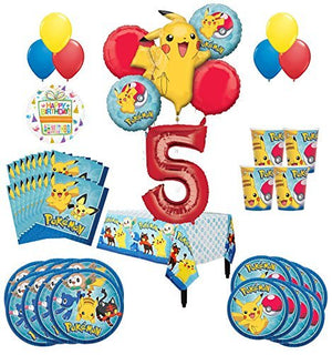 Pokemon 5th Birthday Party Supplies and 16 Guest 95pc Balloon Decoration Kit