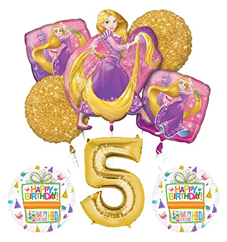 NEW! Tangled Rapunzel Disney Princess 5th BIRTHDAY PARTY Balloon decorations supplies