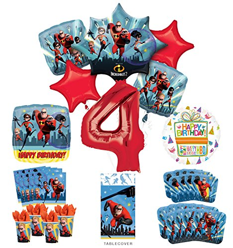 Incredibles Party Supplies 8 Guests 4th Birthday Balloon Bouquet Decorations