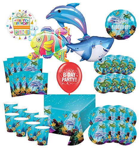 Mayflower Products Under The Sea Birthday Party Supplies 8 Guest Entertainment kit and Ocean Buddies Balloon Bouquet Decorations