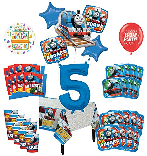 Mayflower Products Thomas The Train Tank Engine 5th Birthday Party Supplies 8 Guest Decoration Kit and Balloon Bouquet
