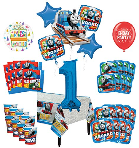 Mayflower Products Thomas The Train Tank Engine 1st Birthday Party Supplies 8 Guest Decoration Kit and Balloon Bouquet