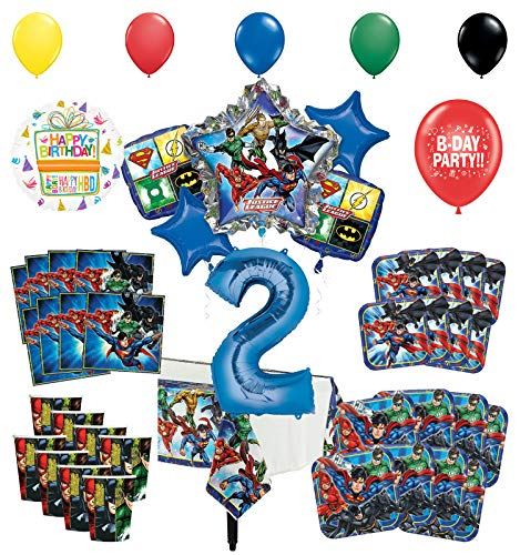Justice League 2nd Birthday Party Supplies 8 Guest Entertainment kit and Superhero Balloon Bouquet Decorations