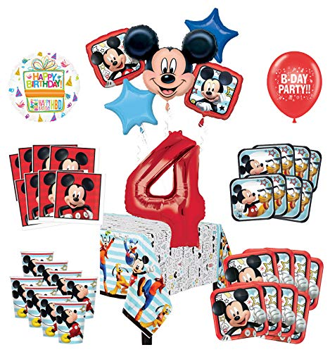 Mayflower Products Mickey Mouse and Friends 4th Birthday Party Supplies 8 Guest Decoration Kit and Balloon Bouquet