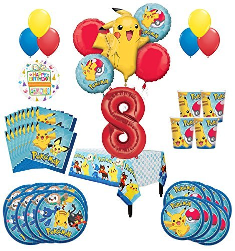 Pokemon 8th Birthday Party Supplies and 8 Guest 54pc Balloon Decoration Kit