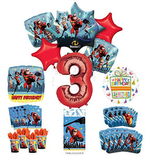 Incredibles Party Supplies 8 Guests 3rd Birthday Balloon Bouquet Decorations