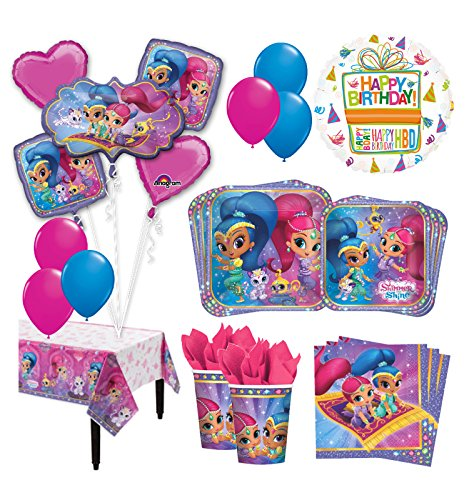 The Ultimate 8 Guest 53pc Shimmer and Shine Birthday Party Supplies and Balloon Decoration Kit