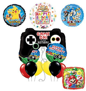 The Ultimate Video Game Birthday Party Supplies and Balloon Decorations (Sonic, Super Mario and Pokemon)