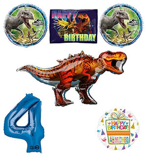 Jurassic World Dinosaur 4th Birthday Party Supplies and Balloon Decorations