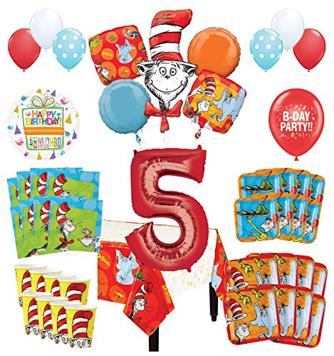 Mayflower Products Dr Seuss 5th Birthday Party Supplies 16 Guest Decoration Kit and Balloon Bouquet