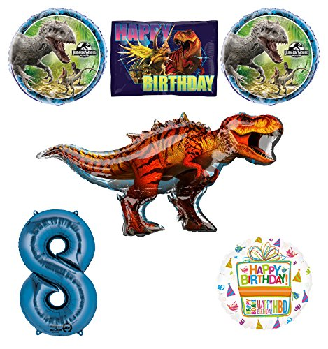 Jurassic World Dinosaur 8th Birthday Party Supplies and Balloon Decorations