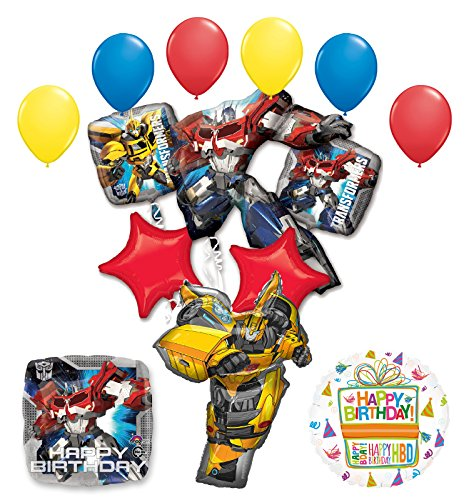 Transformers Birthday Party Supplies Optimus Prime and Bumble Bee Balloon Bouquet Decorations