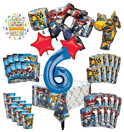 Transformers 6th Birthday Party Supplies 8 Guest Decoration Kit and Balloon Bouquet -