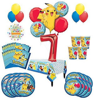 Pokemon 7th Birthday Party Supplies and 16 Guest 95pc Balloon Decoration Kit