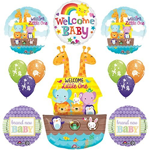 12 pc Noahs Ark Cute and Cuddly Jungle Animal Latex Welcome Baby Baby Shower Party Supplies and Balloon Decorations