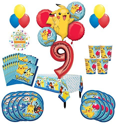 Pokemon 9th Birthday Party Supplies and 16 Guest 95pc Balloon Decoration Kit