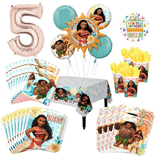 Moana Party Supplies 8 Guest Kit and 5th Birthday Balloon Bouquet Decorations