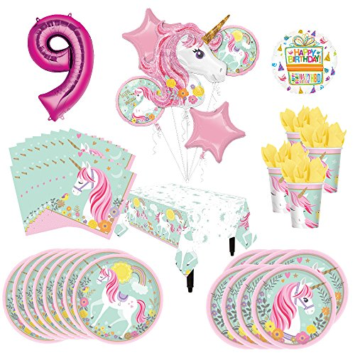Mayflower Products Magical Unicorn Party Supplies 8 Guests 9th Birthday Balloon Bouquet Decorations