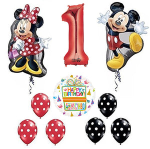 Mickey and Minnie Mouse Full Body 1st Birthday Supershape Balloon Set