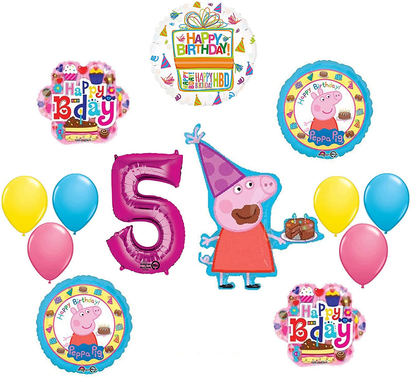 Peppa Pig 5th Birthday Party Balloon supplies and decorations kit