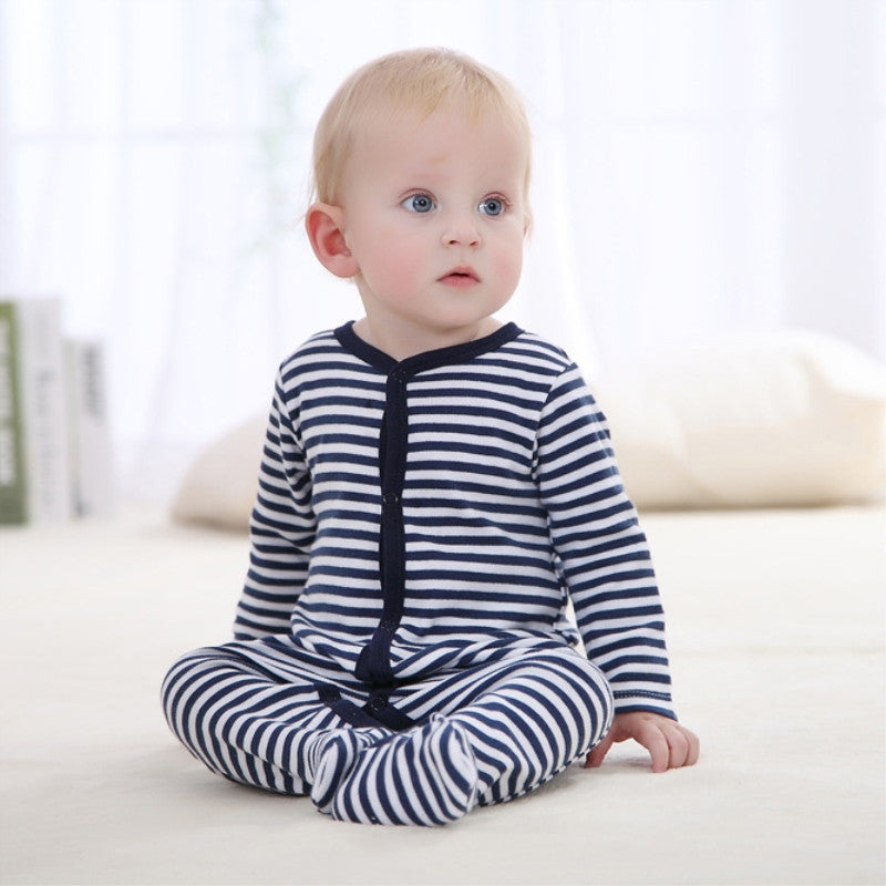 Striped Navy Baby Onesie - Smart Cute Babies