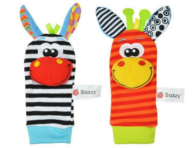 Cute, adorable 4-pc baby Wrist Rattle and Footsies set - Smart Cute Babies