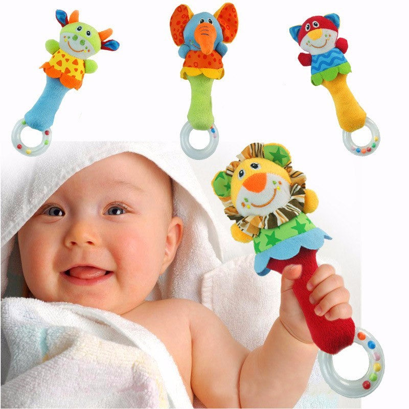 Cute Plush Animal Hand Bells Baby Rattle Ring - Smart Cute Babies