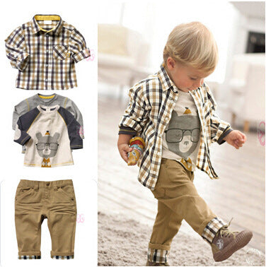 3 pc Baby Plaid Shirt, T-shirt and loose jeans set - Smart Cute Babies
