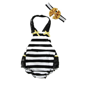 2-pc Black & White Striped Romper & Headband Set - Smart Cute Babies