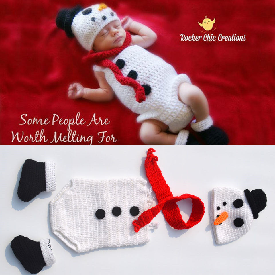 Crochet Snowman Hat, Romper & Boot Set - Smart Cute Babies