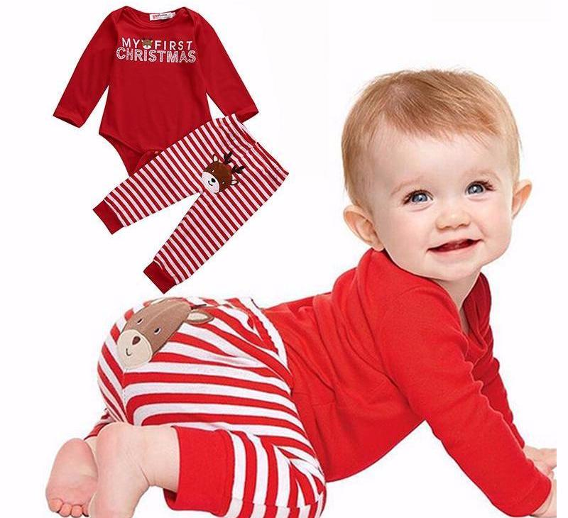 2 pc Holiday Onesie & Stripe Deer Pants Set - Smart Cute Babies