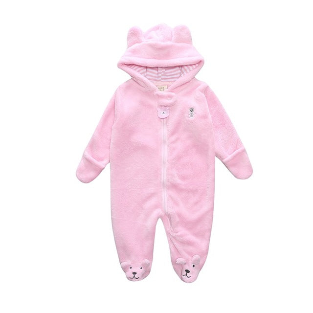 Cute Bear Fleece Overall Romper - Smart Cute Babies