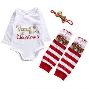 3-pc Christmas Romper, Leg Warmers & Headband Outfit - Smart Cute Babies