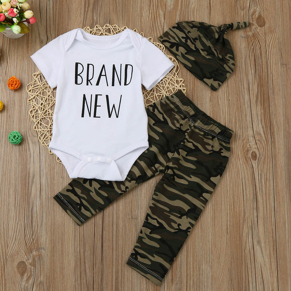 """Brand New"" 3-pc Camouflage Newborn Baby Clothes Set (Short Sleeve Romper, Pants and Hat) - Smart Cute Babies"